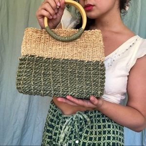 vintage woven straw bag